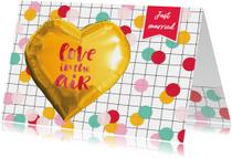 Felicitatiekaarten - Felicitatie huwelijk confetti hart goud