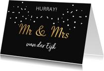 Felicitatie huwelijk mr & mrs goud