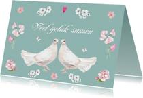 Felicitatiekaart duif huwelijk