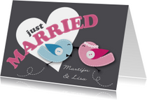 Felicitatiekaart pas getrouwd vogeltjes lief