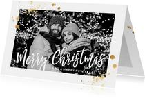 Kerstkaarten - Foto kerstkaart goud spetters