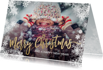 Foto kerstkaart sneeuw goud Merry Christmas