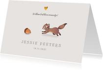 Geboortekaartje lief met eekhoorn voor jongen/meisje