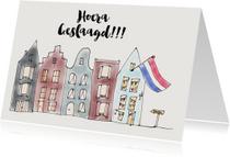 Geslaagd kaarten - Geslaagd kaartje Huis met Vlag