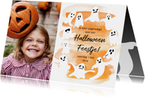 Halloween feest fotokaart met spoken