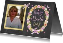 Verjaardagskaarten - Happy birthday schoolbord