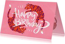 Verjaardagskaarten - Happy Birthday tiger vrouw