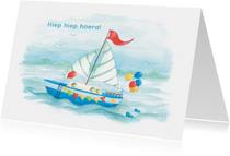 Verjaardagskaarten - Hiep hiep hoera, zeilboot