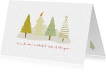 Hippe kerstkaart met bomen