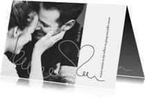 Jubileumkaart 10 jaar samen eenvoudig met foto en hart
