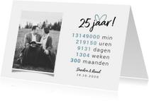 Jubileumkaart 25 jaar rekensom hartje met foto