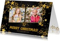 Kerstkaarten - Kerst feestelijke zwarte fotokaart met vele gouden sterren