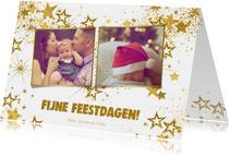 Kerstkaarten - Kerst hippe kaart met 2 foto's en  gouden glitter sterren