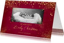 Kerstkaarten - Kerst klassiek rode foto kaart met gouden sterren en hartjes