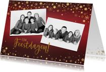 Kerst rode foto kerstkaart met goudkleurige versiering