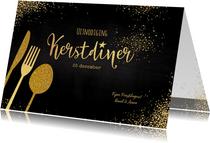 Kerstkaarten - Kerst sfeervolle uitnodiging kerstdiner goud bestek