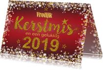 Kerst stijlvol rood  handlettering goud glitter 2019