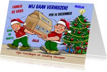 Kerst-verhuiskaart verhuizers in kerst-kleding met doos