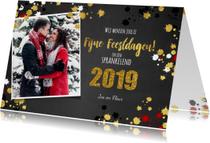 Kerst vrolijke  fotokaart krijtbord met goud elementen