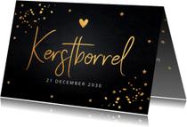 Uitnodigingen - Kerstborrel uitnodiging gouden confetti krijtbord