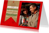 Kerstkaarten - Kerstkaart bruin papier rood