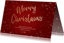 Kerstkaart Christmas rood en goud - Een gouden kerst
