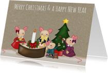 Kerstkaarten - Kerstkaart Familie Muis