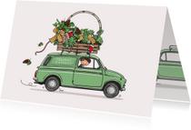 Kerstkaart Fiat 500 bestelauto
