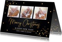 Kerstkaart fotocollage gouden confetti rechthoekig