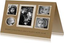 Kerstkaarten - Kerstkaart fotocollage lijstjes kraft - BC