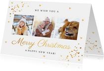 Kerstkaarten - Kerstkaart fotocollage wit goud confetti rechthoek