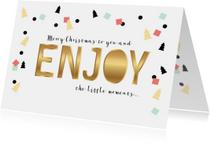 Kerstkaart goud-look Enjoy en confetti