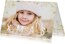 Kerstkaart grote foto XMAS goudlook met confetti