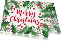 Kerstkaart kersttakken hulst confetti