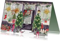 Kerstkaarten - Kerstkaart kerstwinkel met kerstbomen