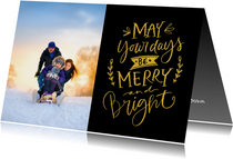 Kerstkaart Merry and Bright goud zwart met foto