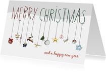 Kerstkaart - merry christmas met kersthangers