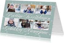 Kerstkaart met 6 foto's op een zachte achtergrond en sterren