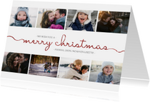 Kerstkaart met sierlijke letters en foto's