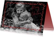 Kerstkaarten - Kerstkaart met trendy rood in glitter strass steentjes