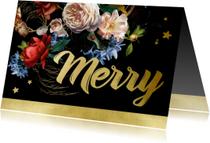 Kerstkaarten - Kerstkaart oude meesters bloemen goud