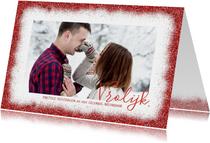Kerstkaarten - kerstkaart rode glitter rand