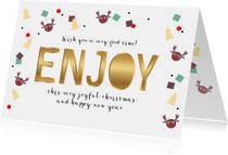 Kerstkaart Rudolf confetti Enjoy