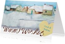 Kerstkaarten - Kerstkaart schilderij huizen