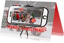 Kerstkaarten - Kerstkaart selfie op getekende telefoon