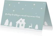 Kerstkaarten - Kerstkaart verhuiskaart huisje sneeuw silhouet
