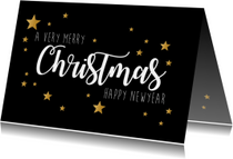 Kerstkaarten - Kerstkaart Very Merry Christmas zwart en goud