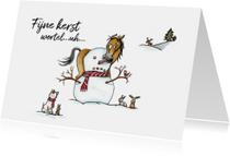 Kerstkaarten Sjors en Odey met sneeuwpop