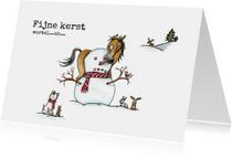 Kerstkaarten - Kerstkaarten Sjors en Odey met sneeuwpop