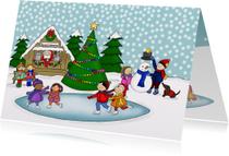 Kerstkaarten - Kerstmis Kerst pleintje schaatsen